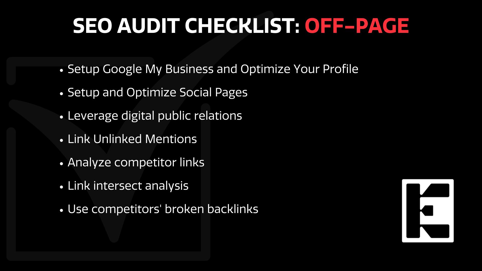 SEO off page checklist