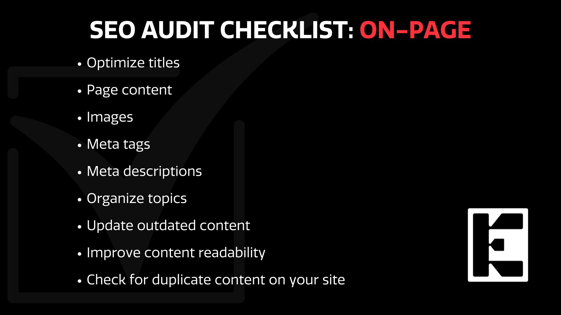 SEO on page checklist