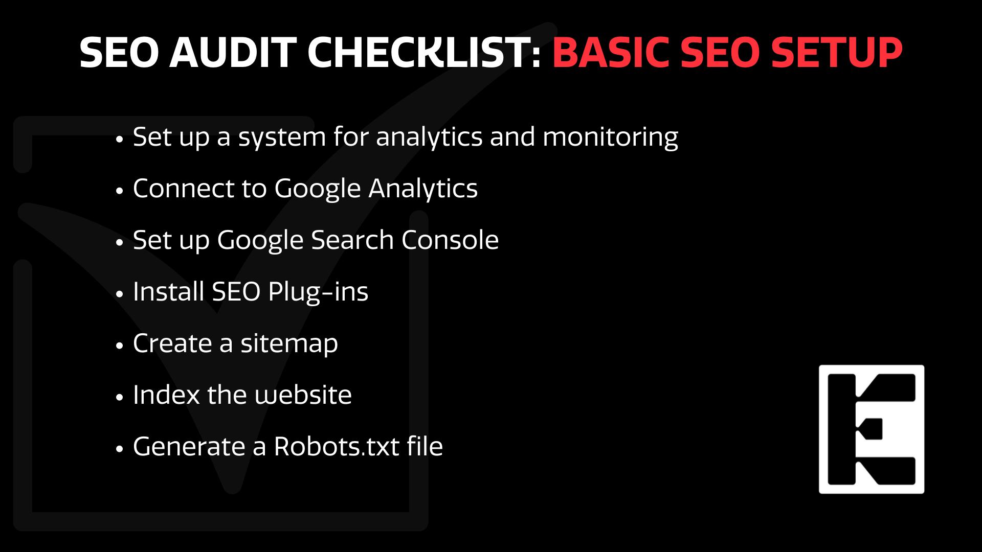 SEO set up checklist