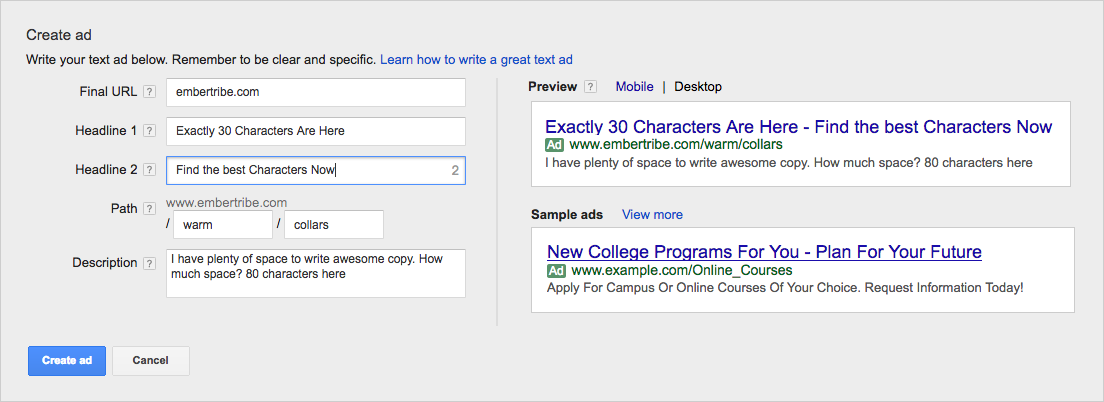 New Character Limit in Adwords
