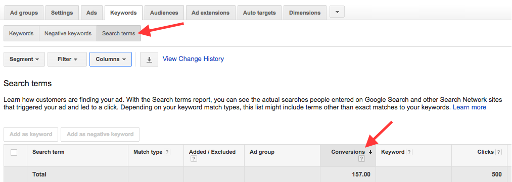 search terms report