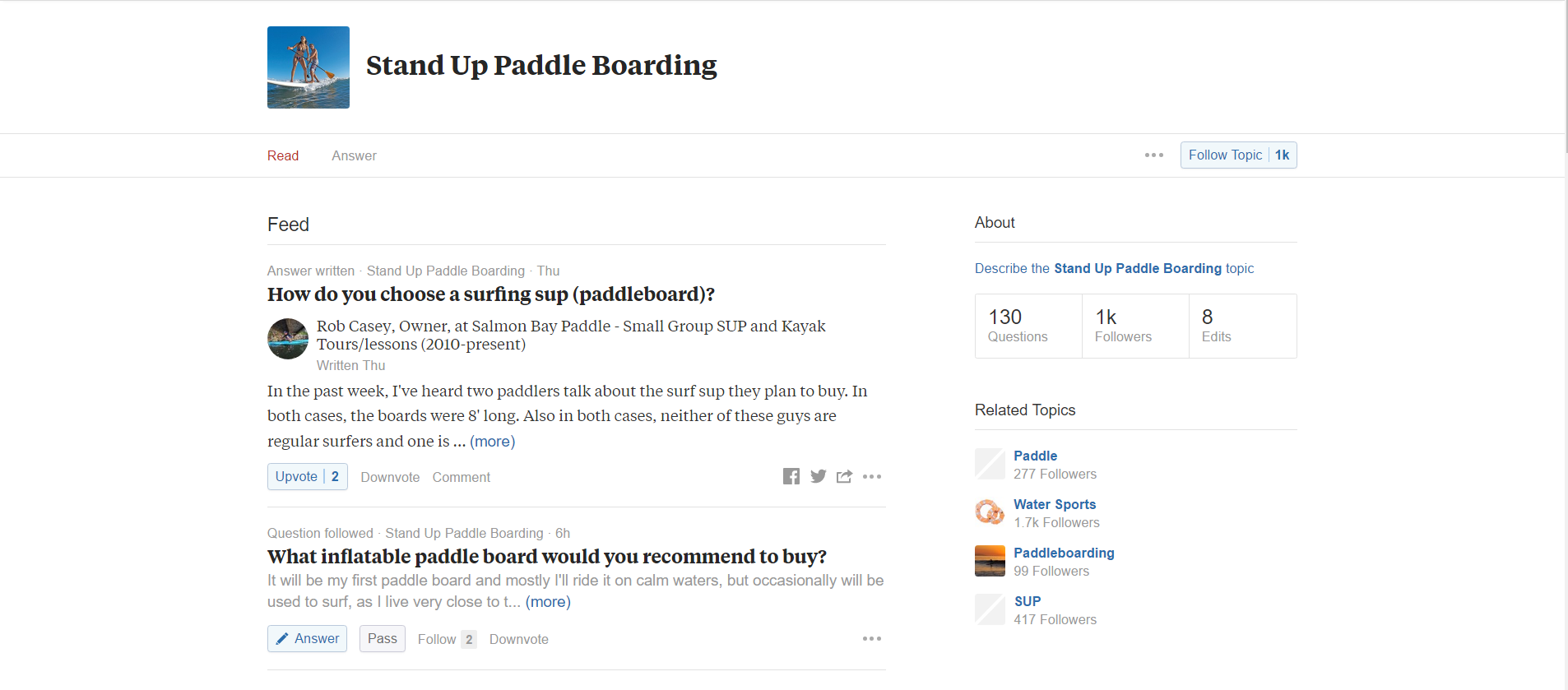 Quora Stand-Up Paddle Boarding