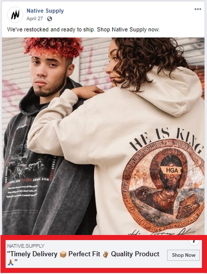 Native Supply example of review in ad headline