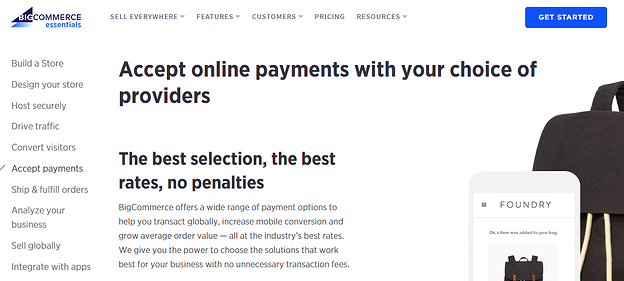 BigCommerce website screenshot