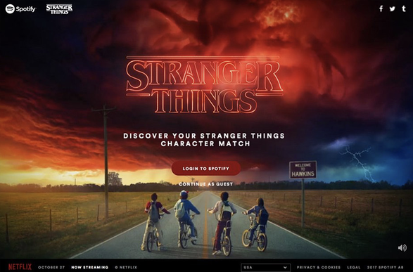 Stranger Things ad on Spotify homepage
