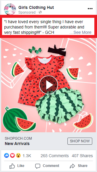 Girls Clothing Hut review in ad text