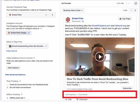 FB reused social proof